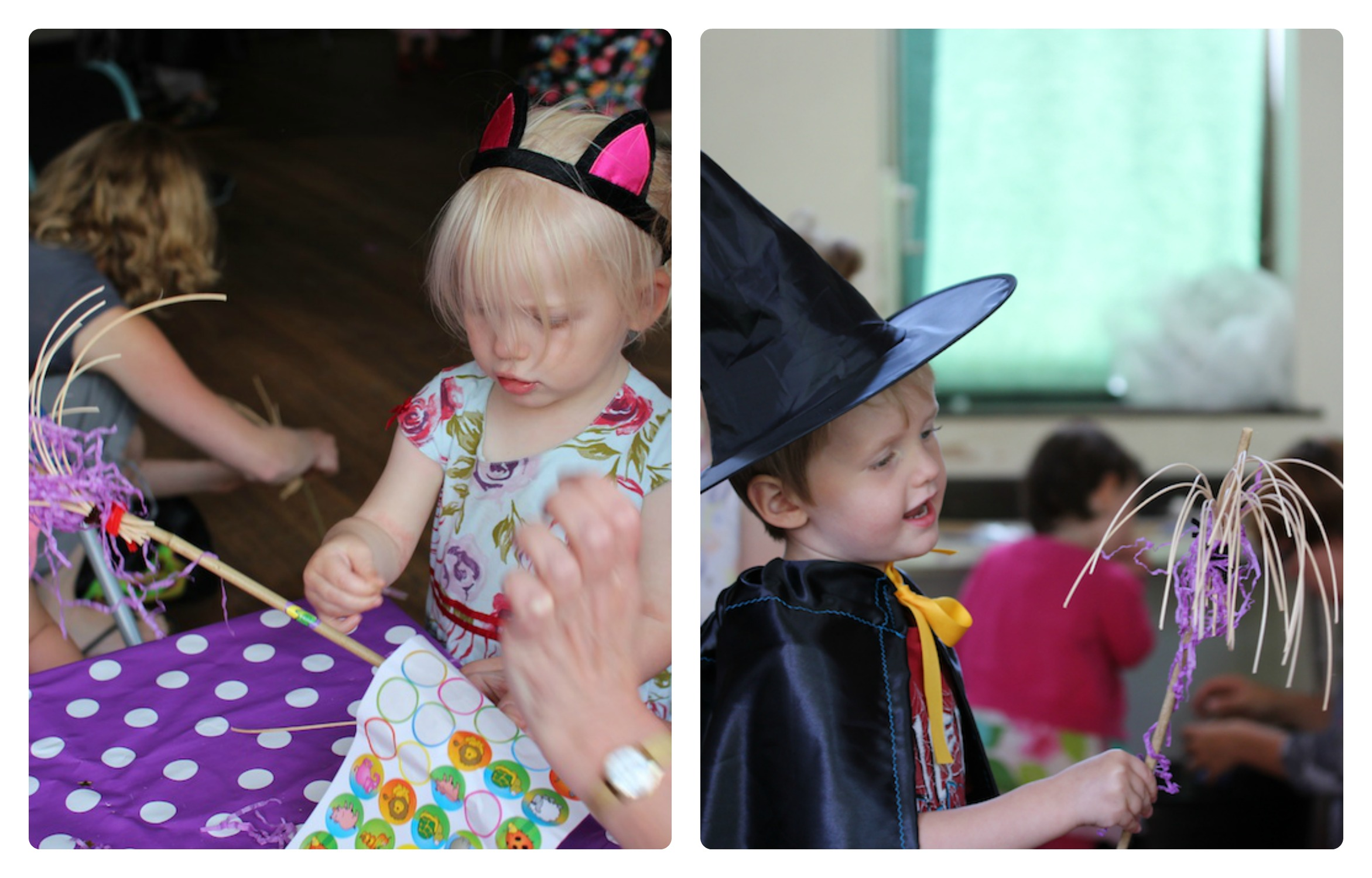 room on the broom party broomstick making