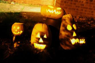 five funny pumpkins halloween