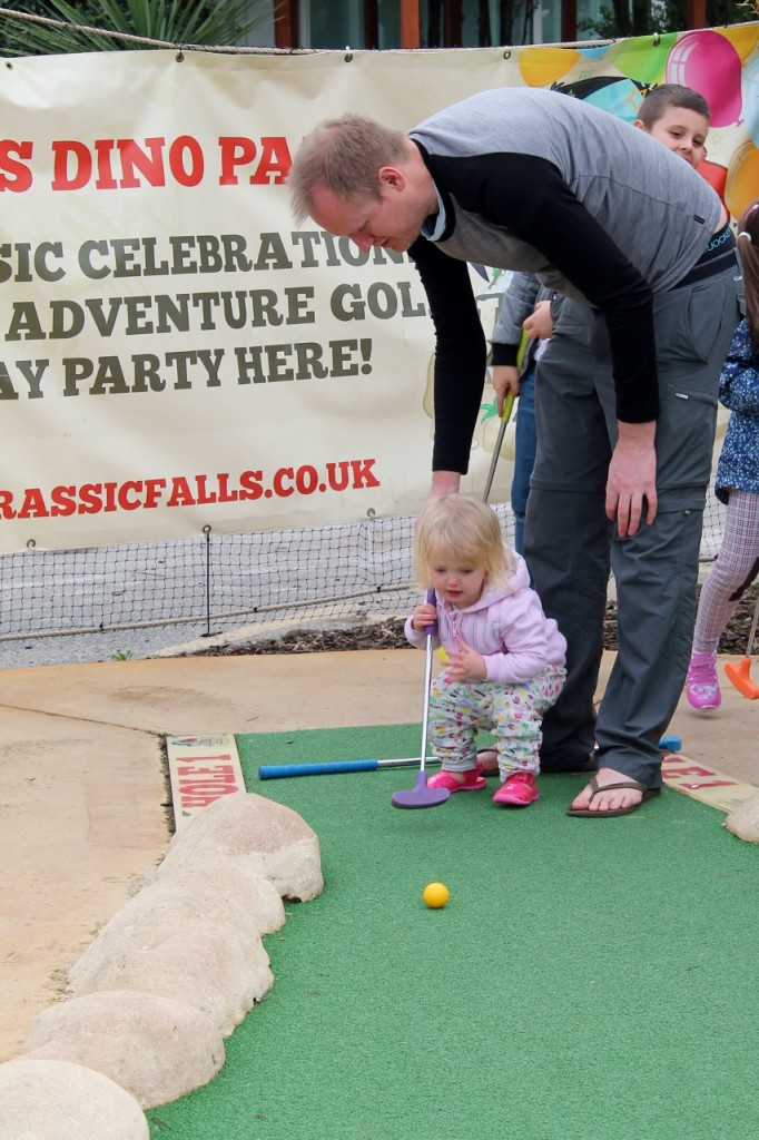 toddler at dinosaur adventure golf jurassic falls chingford
