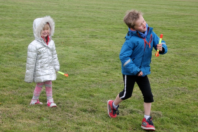 playing with wicked uncle stomp rocket in field