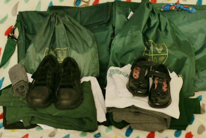 school uniform folded and ready