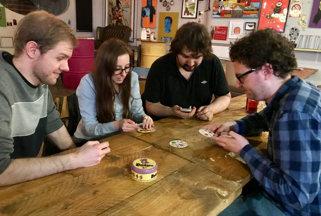 adults playing dobble